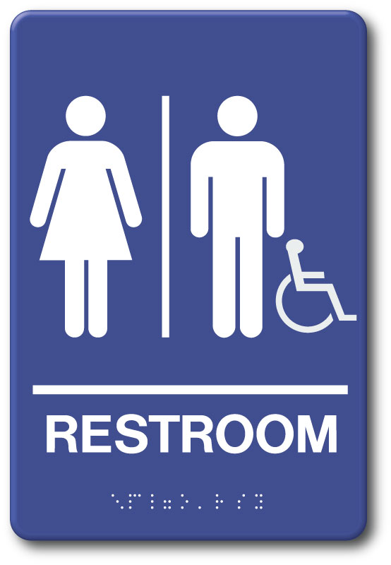 Men Women Accessible Restroom Sign In Stock Fast Ship