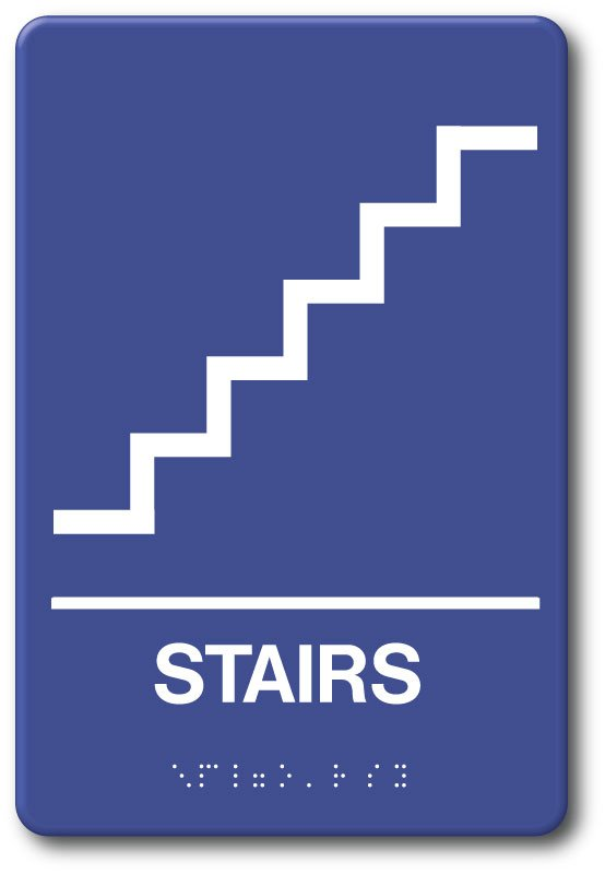 Stairs Sign 6 X 9 Plastic Ada Tactile Ii Braille Ada09011