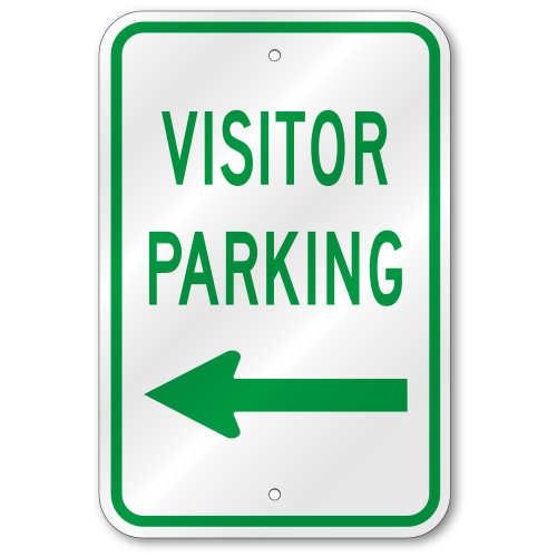 Visitors Parking Left Arrow Sign Outdoor Reflective