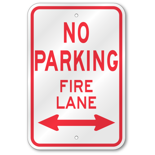 Fire Lane Sign with Right Arrow Reflective Aluminum 12x18 No Parking