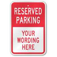 custom parking signs in stock free shipping 3m reflective heavy duty aluminum. Black Bedroom Furniture Sets. Home Design Ideas