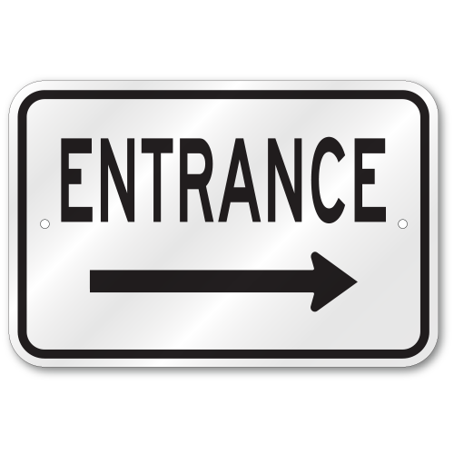 supplemental directional service entrance right arrow Aluminum Composite Sign