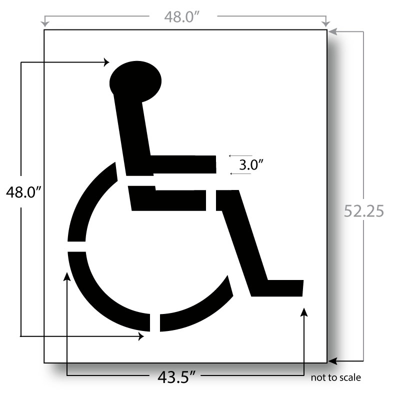 handicap parking sign template - handicap parking stencil 48 inch 3 inch stroke