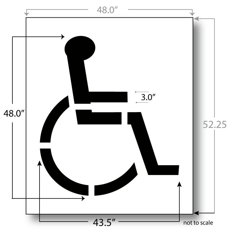 Handicap parking stencil 48 inch 3 inch stroke for Handicap parking sign template