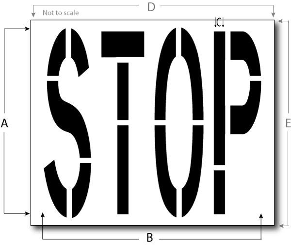 Stop Stencil, Reusable Maxi Thick Plastic, Pavement Marking