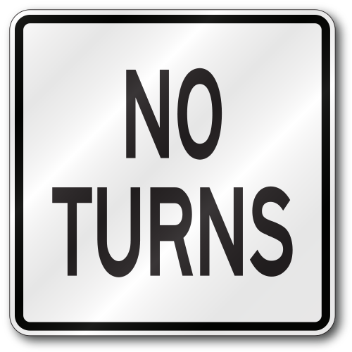 No Turns Sign R3 3 Tr01r33