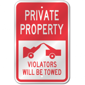 Private Property No Parking Sign, Outdoor Reflective Aluminum, 80 mil  Thick, 12 x 18