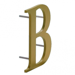 Brass Metal Letters Numbers For Signs 18 Inch Custom Water Jet Cut Pin Mount Hardware