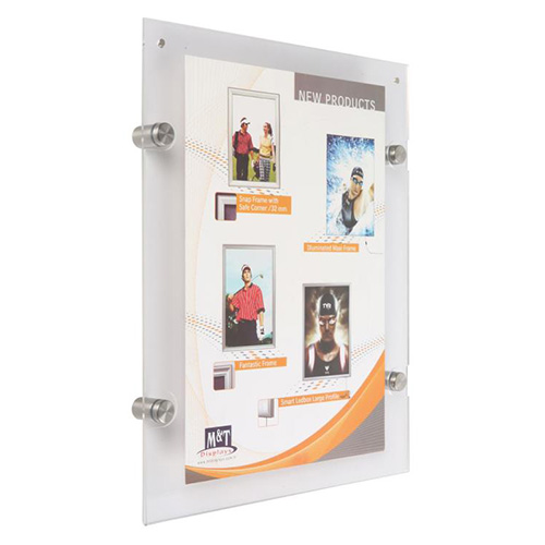 Wall Mount Acrylic Frame Metal Standoff Support - 8.5 x 11 | SF55S0D0081