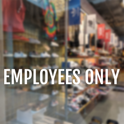 Employees Only Prespaced Vinyl Window Decal Vl0514